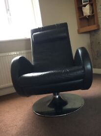 Swivel and reclining chair - real leather