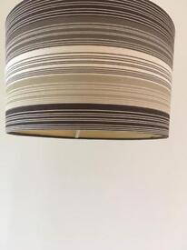Set of two stripy lampshades