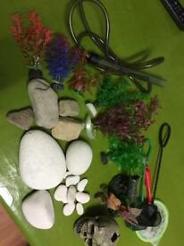Fish tank decor and gravel