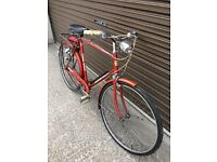 vintage gents bicycle and 4 shelved plastic racking new & welded mesh & fishing stuff