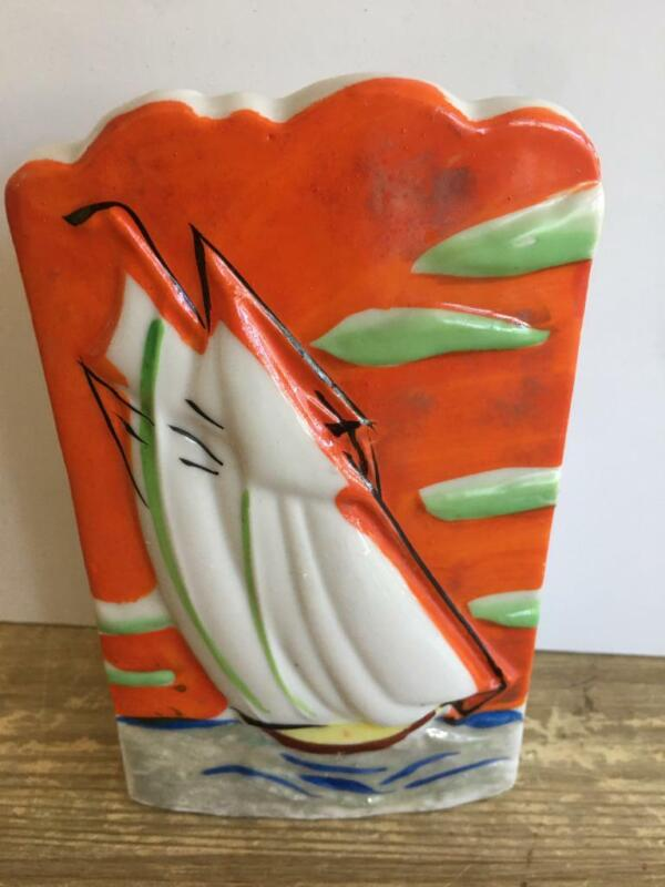 Vintage Wall Pocket Made Japan Ship Boat Orange No Chips Excellent