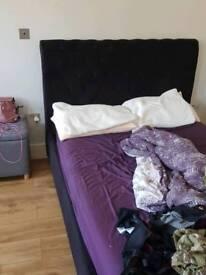 Double velvet black bed