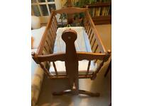 Baby crib and mattresses - wooden