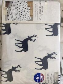 Double fitted sheet with pillow cases