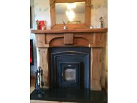 Solid Oak Timber Fireplace Surround (incl. cast iron inset and hearth)