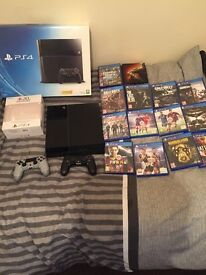 Playstation 4 with games, original box, wires and extra limited edition controller