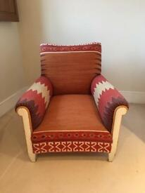 Beautiful Kilim covered armchair