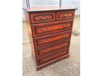 Good quality five drawer bedroom chest of drawers, delivery available