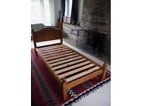 Solid Pine Single Bed Frame with brand new Memory Foam Mattress