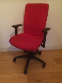 Adjustable Wheeled Swivel Red Office Chair
