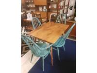 Ercol table and upcycled ercol chairs