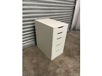 FREE DELIVERY WHITE IKEA ALEX 5 DRAWERS GOOD CONDITION