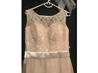Champagne bridesmaid Dress tie up fastening size 8 beautiful dress brand new never worn