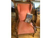 Antique fireside chair.