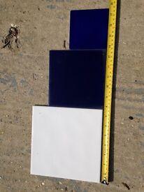 Ceramic tiles white and dark blue unused