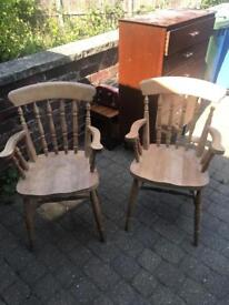 Pair spindle back carver chairs