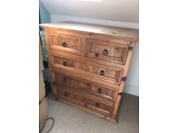 chest of drawers solid wood 5 drawer cabinet unit