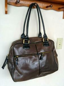 DANIER Leather ~ Made in Canada ~ToTE BaG ~Dark Brown Bucket Cowhide Excellent