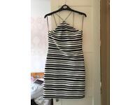 Topshop black and white strip midi dress