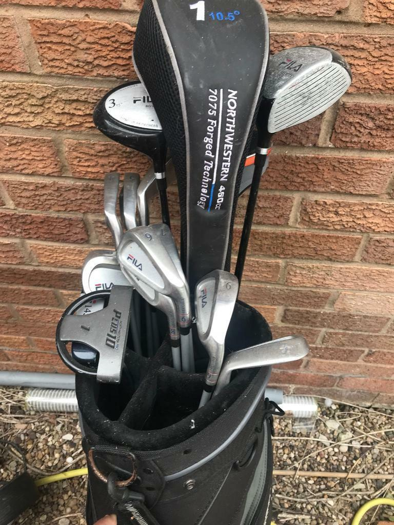 976c62bdd2dc Full set of fila golf clubs bag and trolley