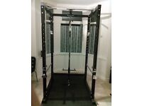 Power Cage Rack with full Lat pull and bicep curl gym set.