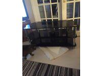 Black glass corner tv stand 105cm wide