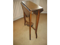 Small octagonal drop leaf window side table, with glass top + octagonal lower tier, dropf-leaf