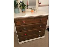 Vintage solid pine chest of drawers - Gorgeous handles