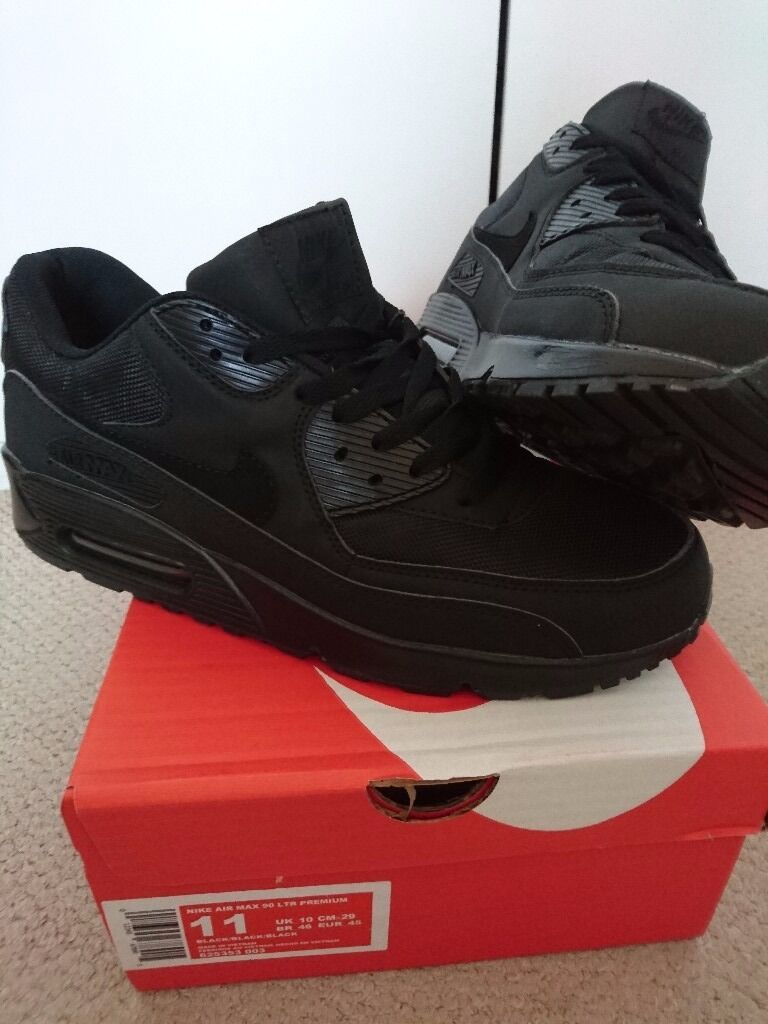 erapc NEW NIKE AIR MAX 90 MENS SIZE 7,8,9,10,11 TRIPLE BLACK HYPERFUSE