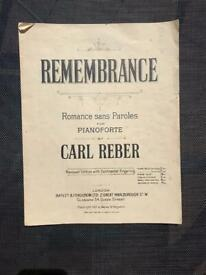 Vintage Sheet Music: Remembrance - Romance Sans Paroles For Pianoforte By Carl Reber