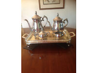 Vintage Silver Plated Georgian Style 5 piece TEA COFFEE SET WITH TRAY, beautiful Floral design