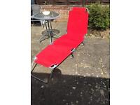Sun lounger multiposition in red