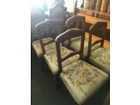Splendid Set of 6 Antique Mahogany Carved Back Dining Chairs