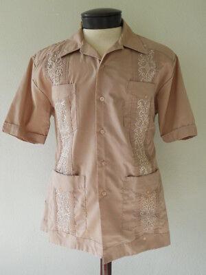 (ROMANI Men's XL Deluxe Guayabera Shirt Tan Pleats Embroidery Cuffed Sleeves)