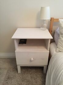 Bedside Tables x 2 - wooden (painted white) FREE bedside lamps