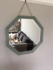Hexagon mirror painted in Duck Egg Blue with gold detail