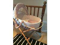 Mamas and Papas Moses basket, mattress and 6 sheets