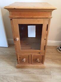 Solid pine hi fi / cupboard unit