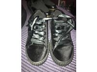 Boohoo velvet creepers with silky type laces