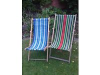 2x folding deck chairs for the garden