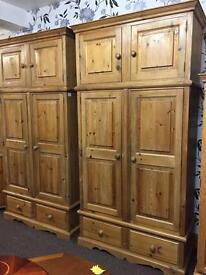 Large solid pine wardrobe bedroom furniture.