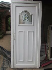 White PVC door with Stained Glass