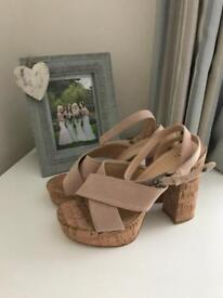 Nude suede cork ankle strap heels
