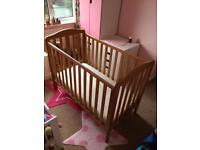 MOTHERCARE - OAK EFFECT DROPSIDE COT (3 HEIGHTS) & LUXURY POCKET SPRING MATTRESS