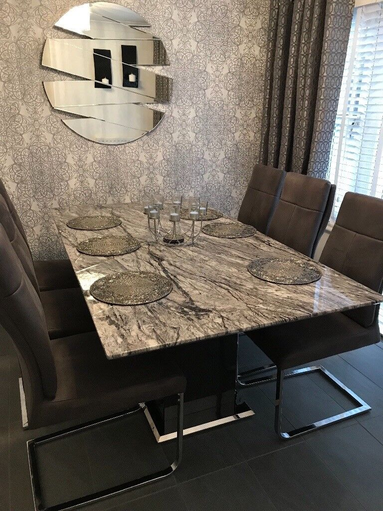 Donatella raphael grey marble dining table 6 dining chairs
