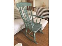 SHABBY CHIC ROCKING CHAIR WITH FIDDLE DESIGN TO CENTRE BACK IN A PALE TURQOISE COLOR