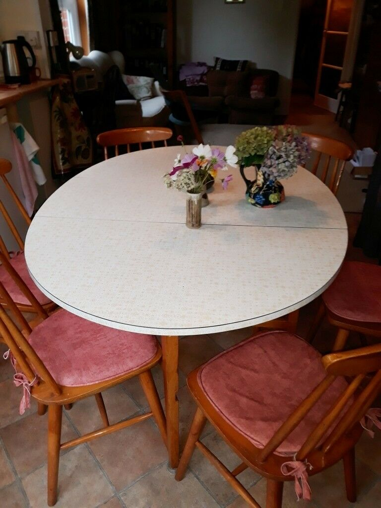 Vintage kitchen table with retro floral formica top