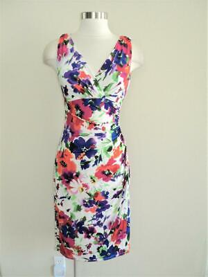 Ralph LAUREN Size 6 Vibrant Floral Ruched Jersey Dress 6