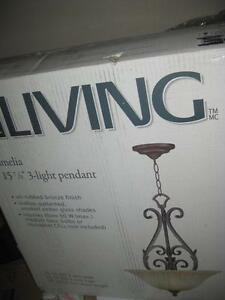 "For Living Amelia 3Light Bronze Pendant Ceiling Light. Scallop Pattern Finish. Amber Smoked Glass Shade. 26""W x27""H. NEW"