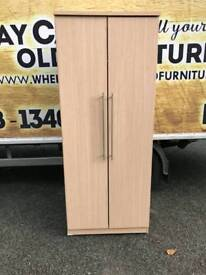 beech wood wardrobe with chrome handles